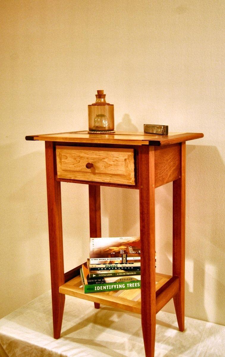 buy a handmade shaker style mahogany and maple nightstand with  - custom made shaker style mahogany and maple nightstand with drawer and shelf