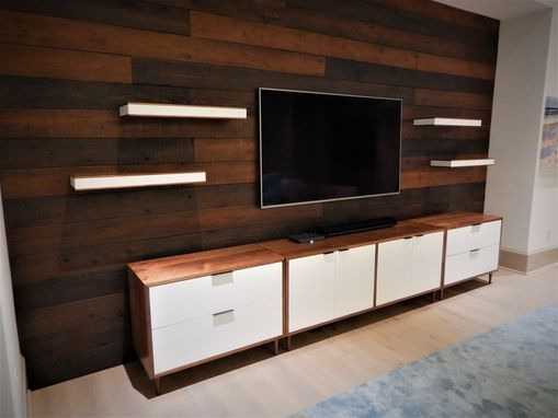Custom Made Mid-Century Modern Cabinet Group With Floating Shelves.