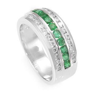 Custom Made Elegant Emerald And Diamond Band In 14k White Gold, Colored Stone Ring, Ladies Band