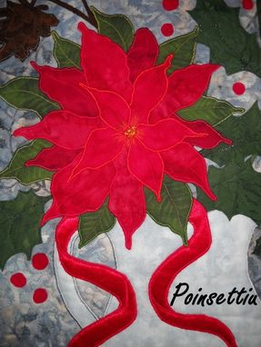 Custom Made The Poinsettia Quilted Wall Hanging