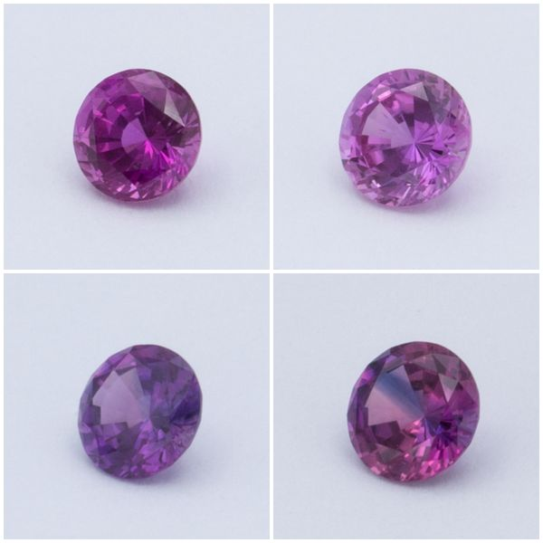 Four loose magenta sapphires we selected for one customer interested in a pinkish-purple color.