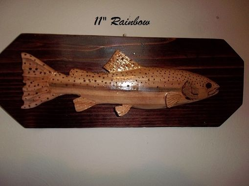 "Custom Made Hand Carved 11"" Wooden Rainbow Trout"