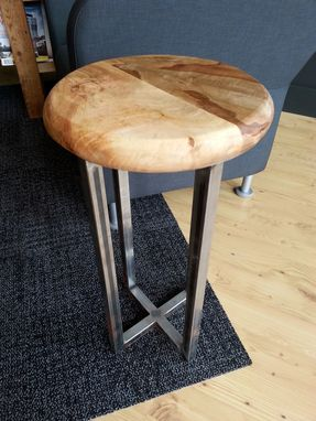 Custom Made Maple And Steel Accent Table Or Stool