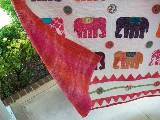 "Custom Made Custom ""Elephant Walk"" Appliqued Quilt"