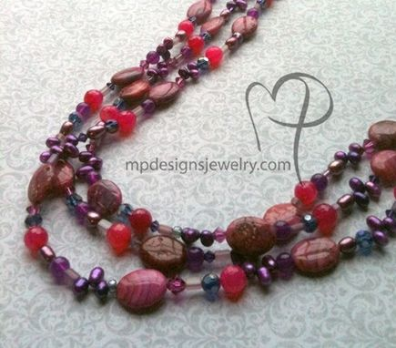Custom Made Cabaret ~ Gemstone Pearl Crystal Triple Strand Necklace