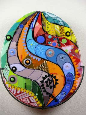 "Custom Made A Fused Glass Wall Artwork ""A Misterious Egg"""