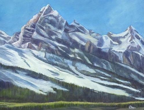 Custom Made Teton Giant (Jackson, Wyoming) Oil Painting - Fine Art Print On Canvas, Unstretched