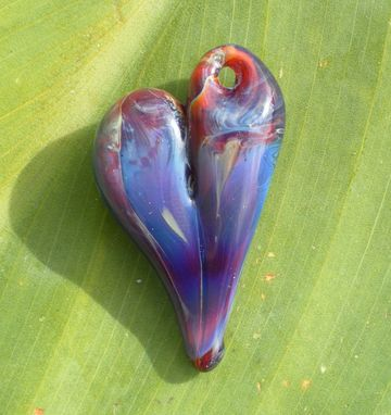 Custom Made Hand-Blown Glass Heart Pendant In Amber, Blue, And Purple