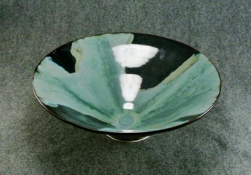 Custom Made Large Serving Bowl Or Center Piece, Black Blue Brown Green