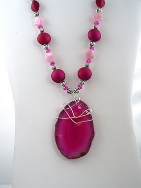 Custom Made Hot Pink Wire Wrapped Geode Slice Pendant Necklace