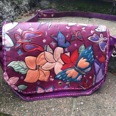 Custom Made Purple Leather Butterfly Purse With Hawaiian Flowers