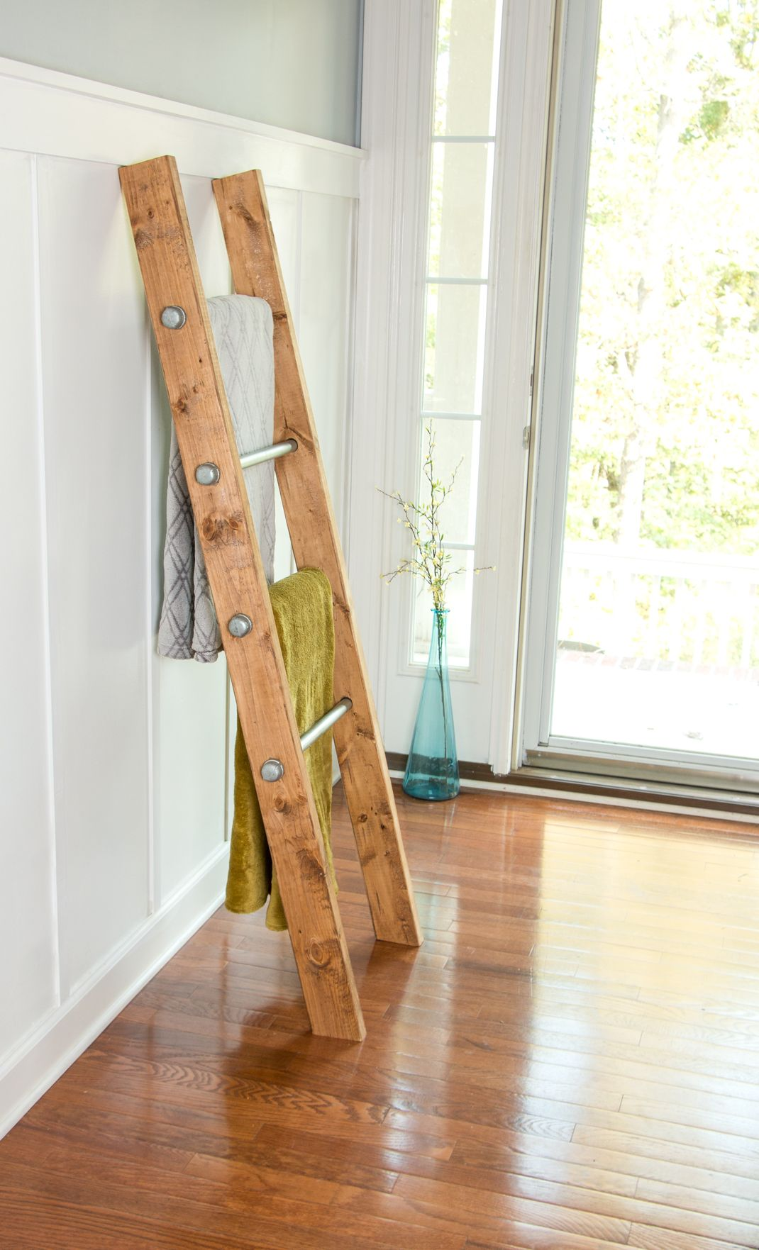 Buy a Custom Made Wooden Ladder W/ Industrial Pipe - Blanket ... : rustic ladder quilt rack - Adamdwight.com