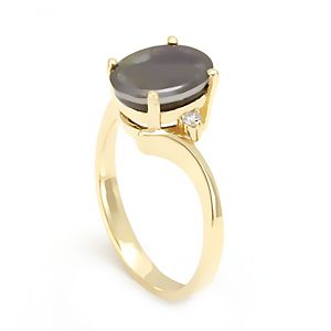 Custom Made Amolite And Diamond Ring In 14k Yellow Gold, Engagement Ring, Amolite Ring