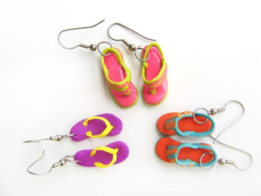 Custom Made Neon - Purple & Yellow Flip Flop Earrings - 100% Hand-Crafted In Polymer Clay