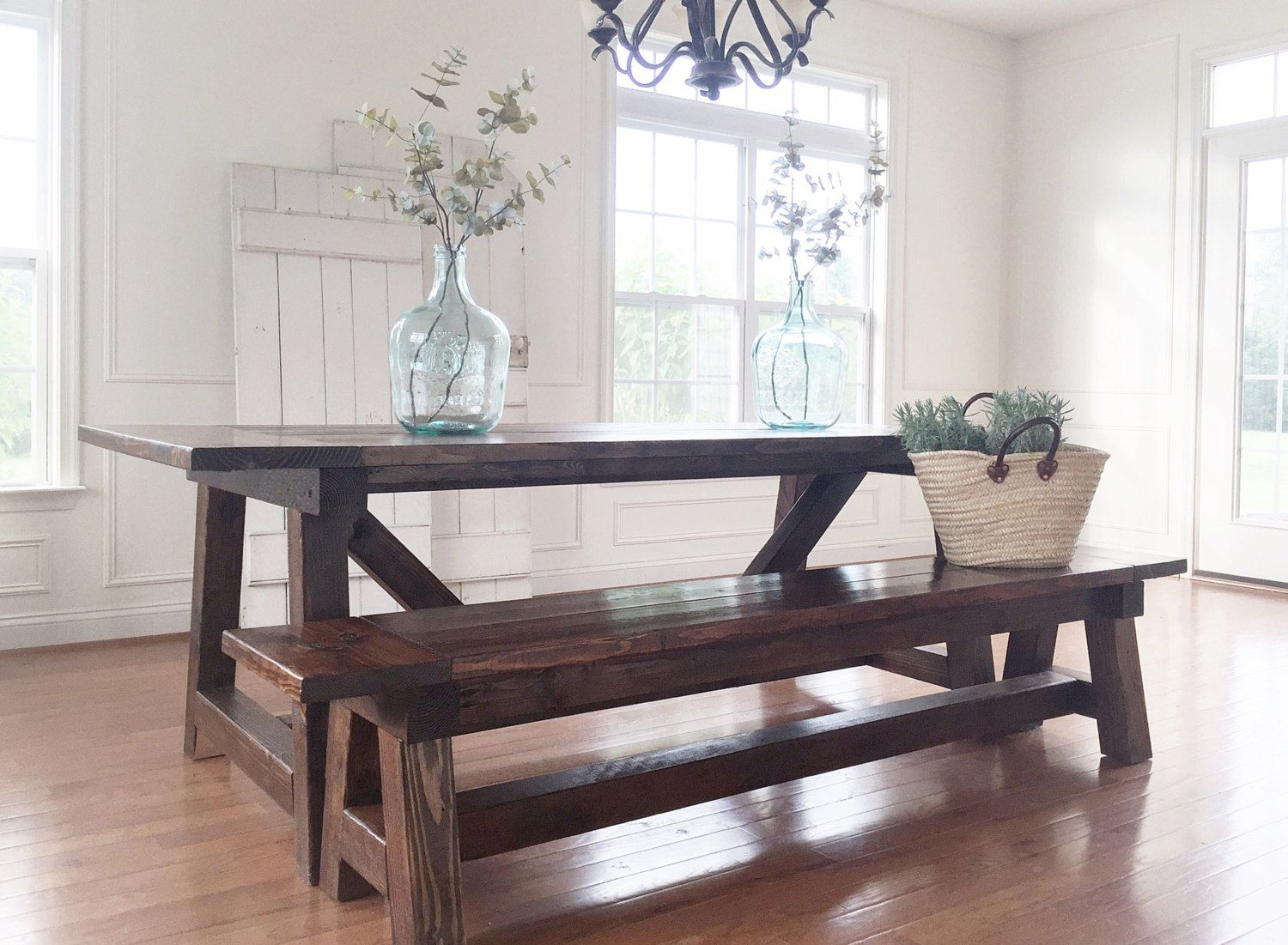 Buy A Hand Crafted Rustic Farmhouse Table Amp Bench Solid