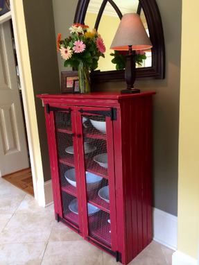 Custom Made Red Rustic Pie Safe, Shabby Chic Pie Safe, Pie Safe Cabinet, Jelly Cabinet, Jelly Cupboard