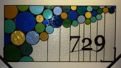 Custom Made Stained Window Panel / Bubble Transom With House Number  (Am-31)
