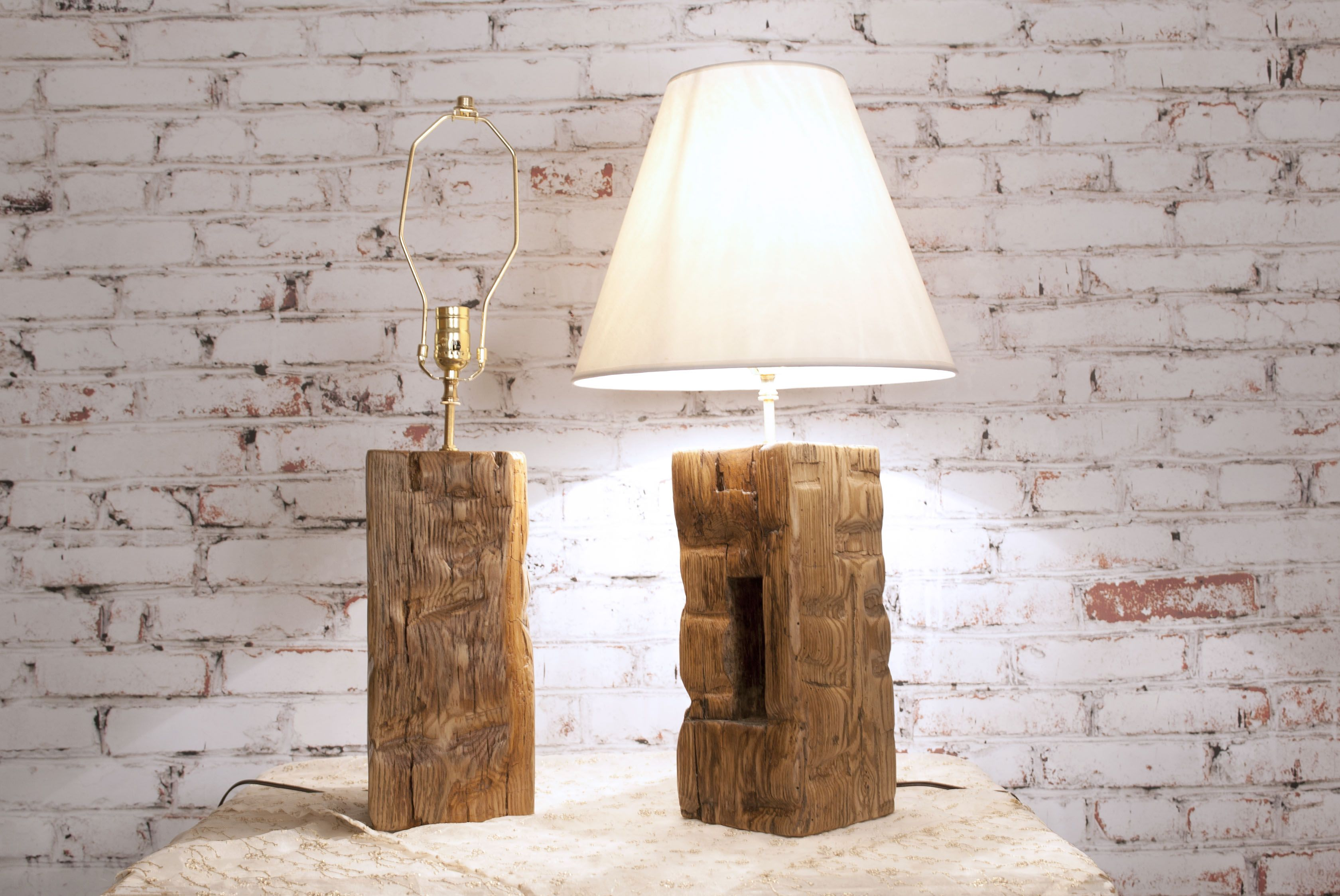 Wood outdoor lamp post - Barn Beam Lamp Pair Rustic Country Accent Hand Hewn Handmade Wood Americana Salvage