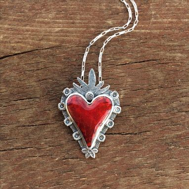 Custom Made Red Enamel Heart Necklace, Glowing Red Heart Necklace, Flaming Heart Necklace
