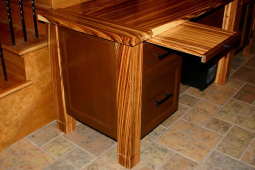 Custom Made Zebrawood Desk With Printer Stand