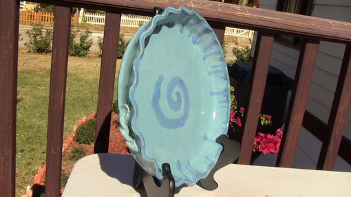 Custom Made Blue Swirl Pie Plate