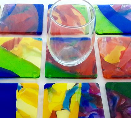 Custom Made Fused Glass Coasters - Ulu Pua