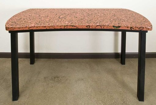 Custom Made Polished Concrete Side Table Made From Recycled Wine Bottle Table