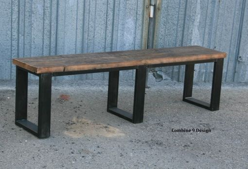 Custom Made Vintage Industrial Bench. Seat. Reclaimed Wood.  Rustic Farmhouse Style. Modern.