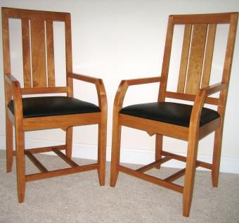 Custom Made Custom Designed Cherry And Leather Chairs