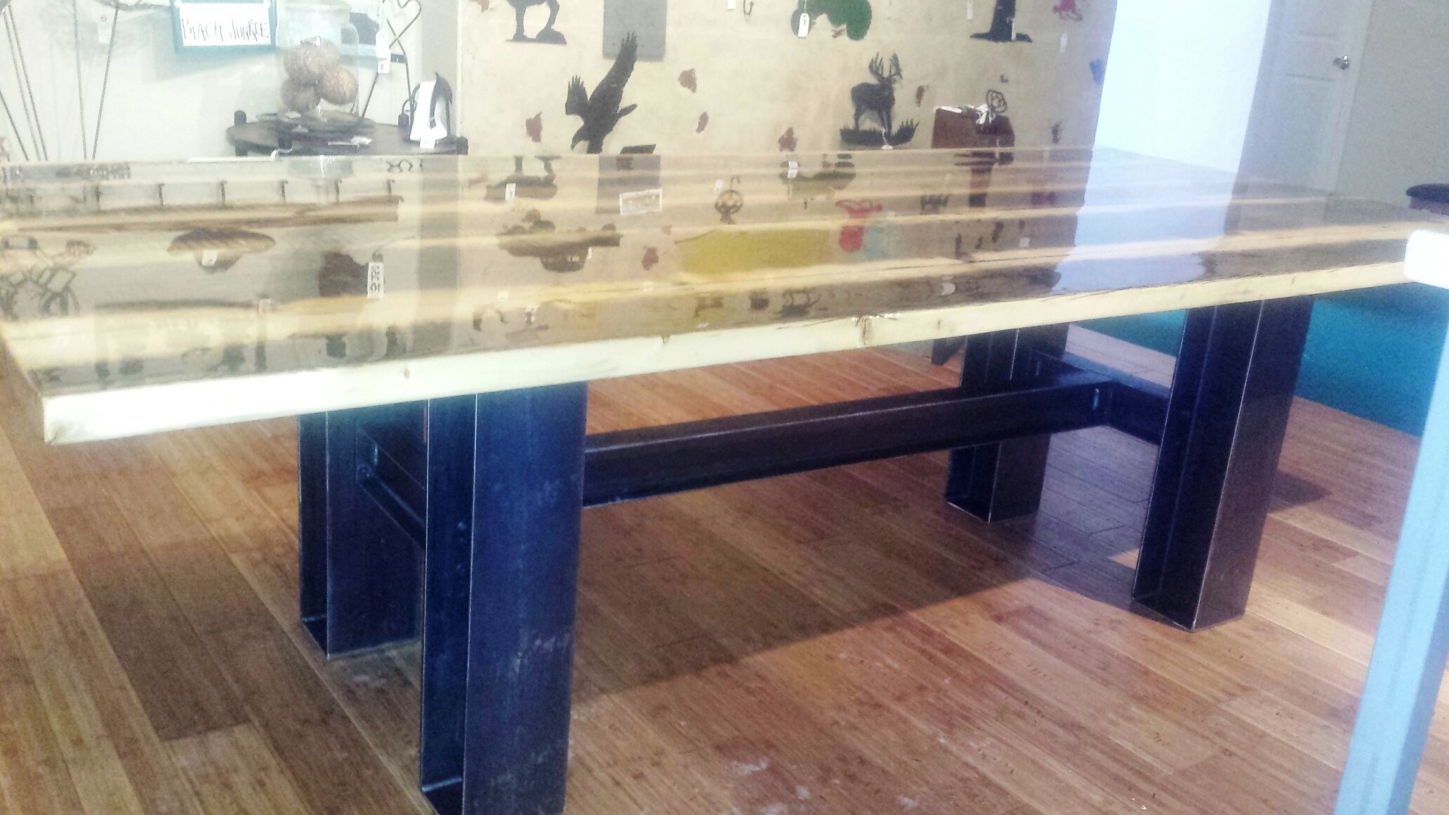 Buy a Custom Modern Industrial Rustic 9 Foot Dining Table