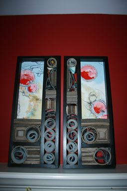 Custom Made Matched Pair Of Oil Paintings On Panel With Recycled And Reused Materials