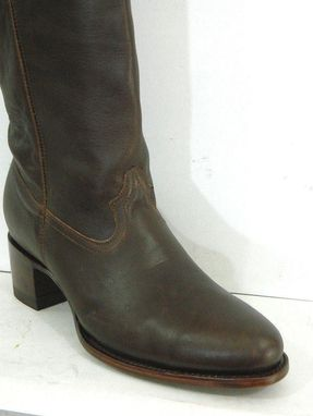 Custom Made Round Toe Men Size 13 Brown Leather Boots In Stock Made To Order In Any Other Size