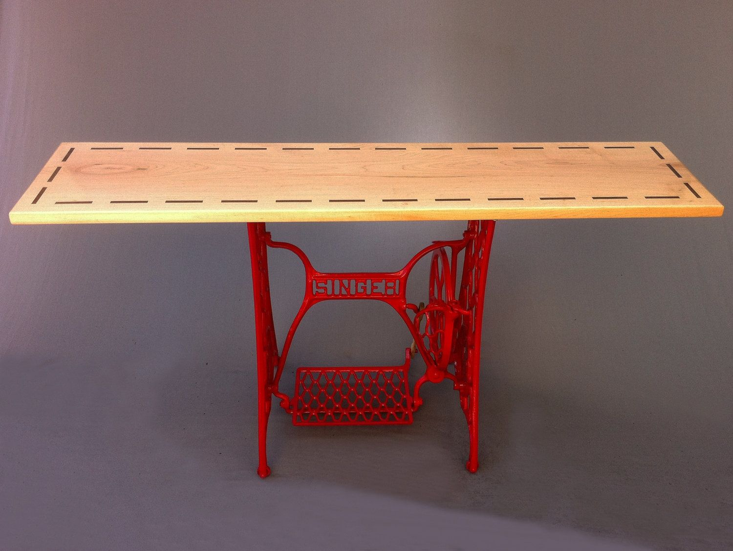 Buy a hand crafted modern console tablered vintage singer sewing buy a hand crafted modern console tablered vintage singer sewing machine base hall entry table made to order from studio1212 custommade watchthetrailerfo