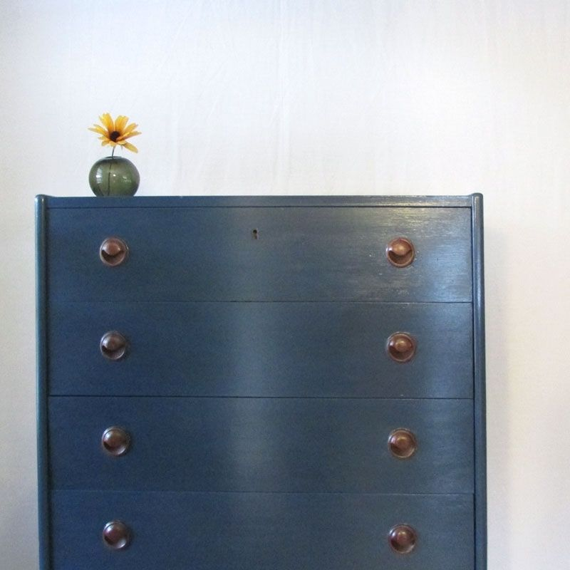 navy dresser with drawers of copper chest blue pipe pulls drawer