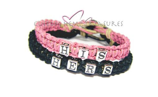 Custom Made His Hers Sterling Silver Hemp Couples Bracelets