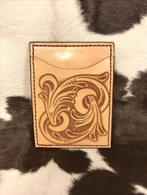 Custom Made Tooled Card Wallet With Flip Clip
