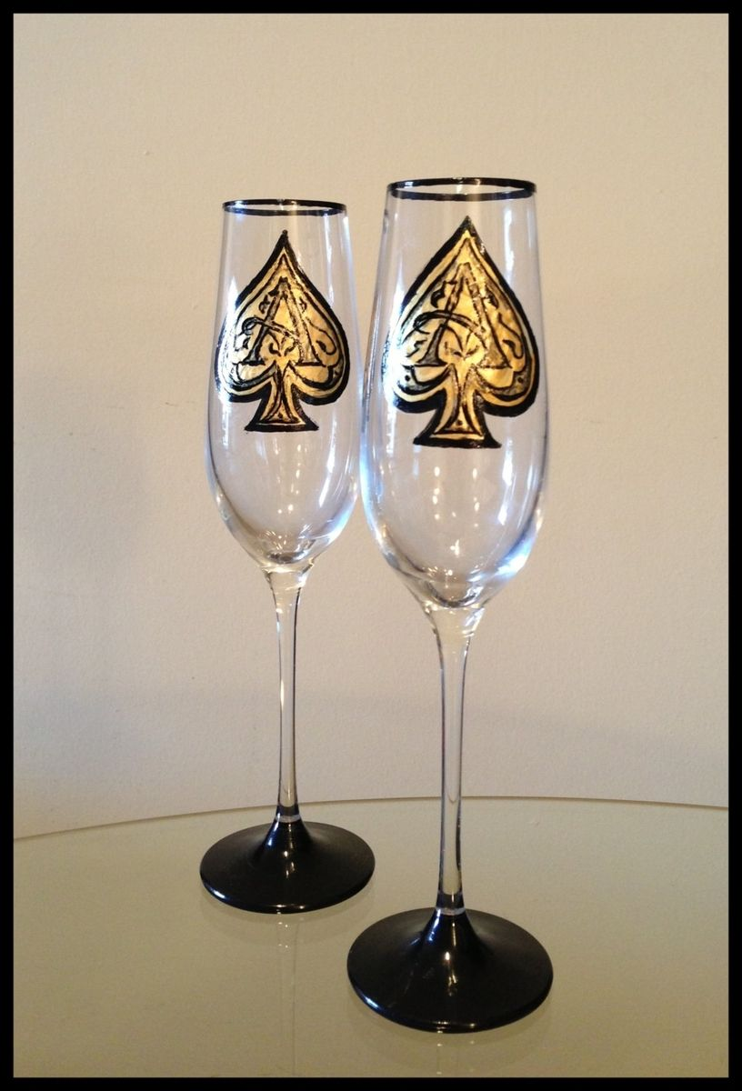 Custom Hand Painted Wine Glasses Armand De Brignac Design Champagne Flutes By Ashley