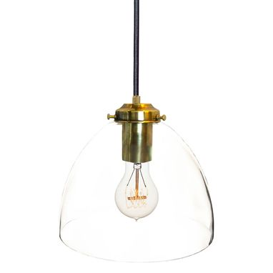 "Custom Made 8"" Clear Hand Blown Glass Light- Brass"