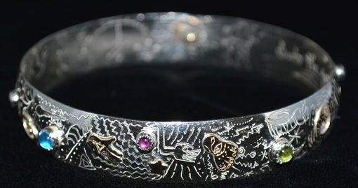 Custom Made Sterling Silver + 14k Gold Fill Bangle Bracelet With Stones