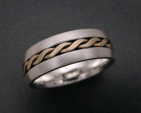 Custom Made Sterling Wedding Ring With 18k Twisted Wire Inlay