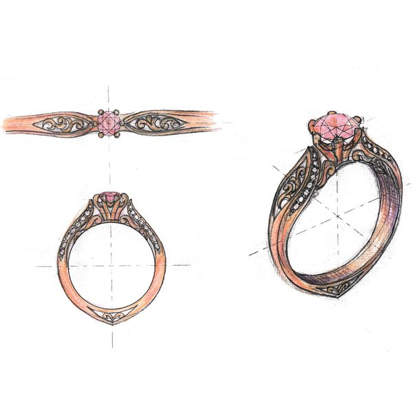 Sketches for a romantic rose gold ring with vintage scroll details around a floral morganite center stone setting.