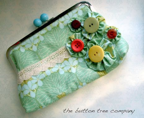 Custom Made Green Clutch Purse With Lace Accent And Handmade Flower Appliques