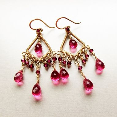 Custom Made 14 Karat Gold Filled Chandelier Earrings With Rhodolite Garnet And Pink Quartz Gemstones