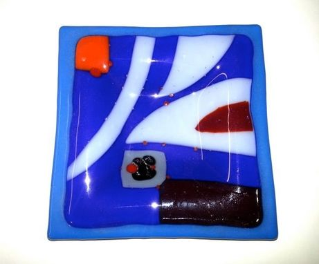 Custom Made Blue Pattern Fused Glass Candy Dish