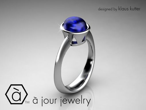 Custom Made Simple Beauty Sapphire Cabochon Ring In 18k White Gold
