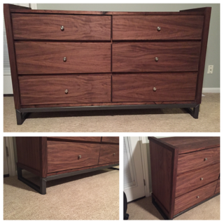 Custom Made Walnut And Metal Dresser