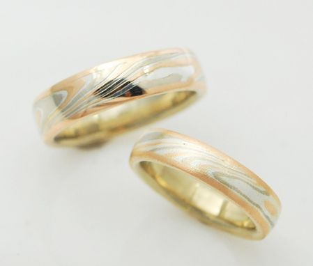 Custom Made 14kt Palladium White, Red And Sterling Mokume Gane Rings With Different Finishes