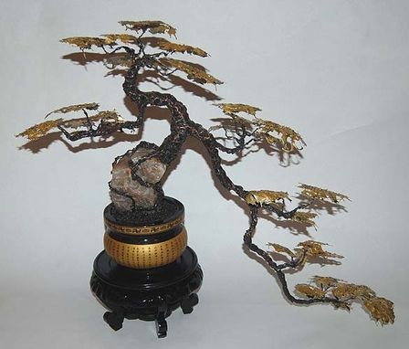 Custom Made Golden Cascade Metal Bonsai Tree