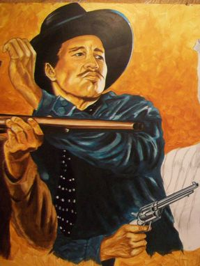 Custom Made Acrylic On Board Portrait For A Mural: Cowboys 13