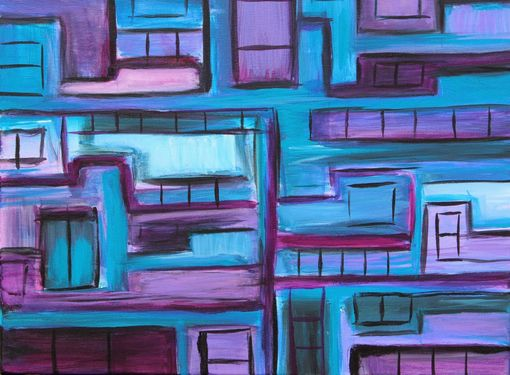 "Custom Made Acrylic Painting 16'' X 20''- ""Office Space""- Cubist Inspired Painting"